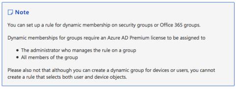 Information zu Microsoft Groups dynamische Gruppenmitgliedschaft