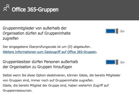 Ansicht für die Administration der Office 365 Gruppen berechtigungen für einen Gast Zugriff