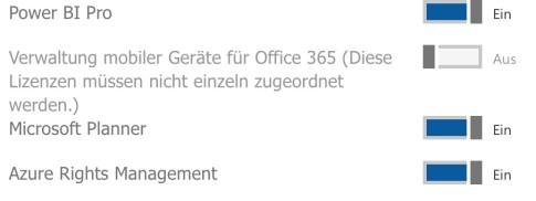 Darstellung der Zuweisung von Office 365 Planner im Office 365 Admin Portal
