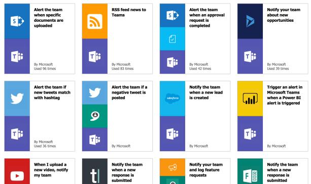 Übersicht der Flow Template für Microsoft teams